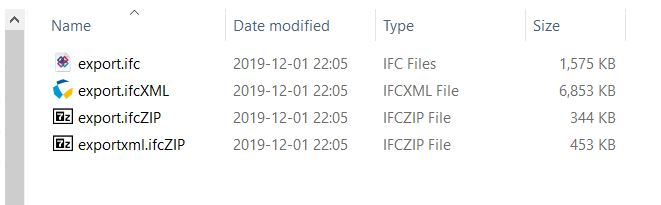 Sizes of different IFC export