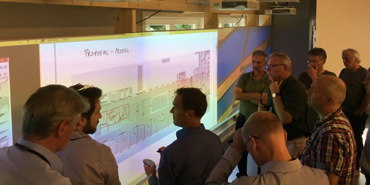 BIM coordination meeting with Huddle wall