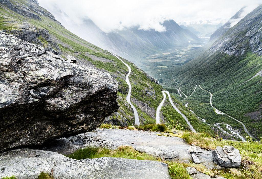 Norway Trollstigen, steep road with curves