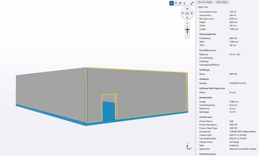 ifc model properties, ifcwall properties trimble connect