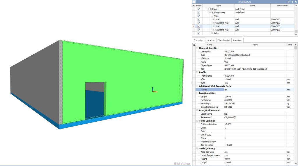 Ifc properties, ifc model BimVision