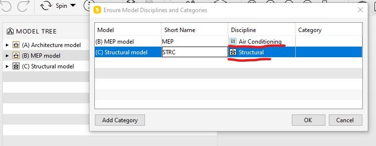 BIM Coordiantion - wybór dysyplin modeli
