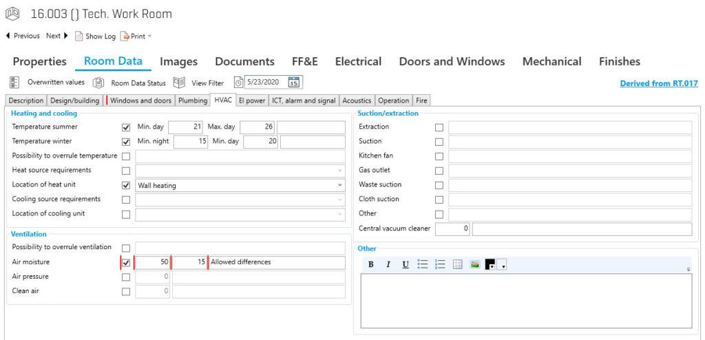 Example Room Data Sheet - part of Building Program