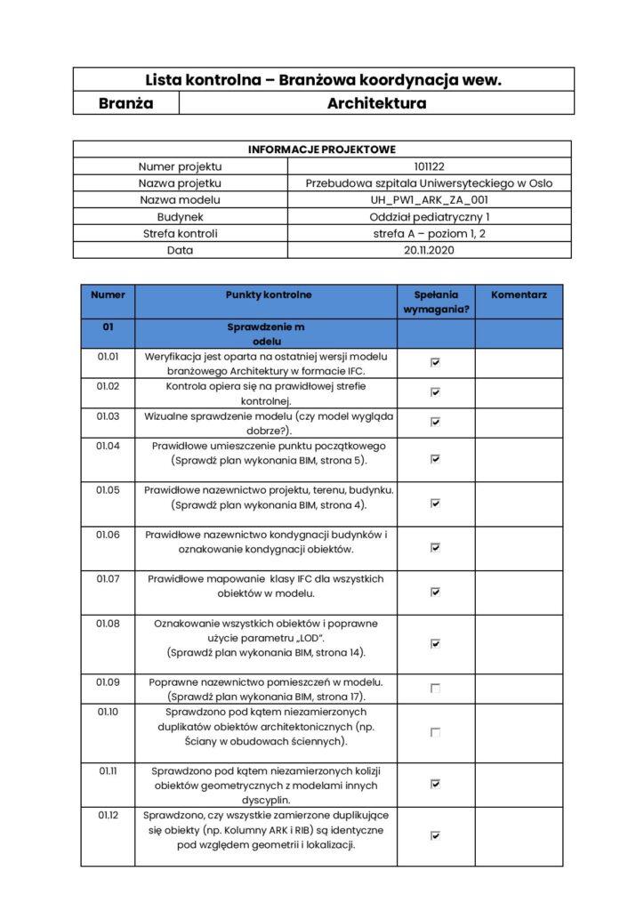 Lista Kontrolna - branżowa - BIM Koordynacja